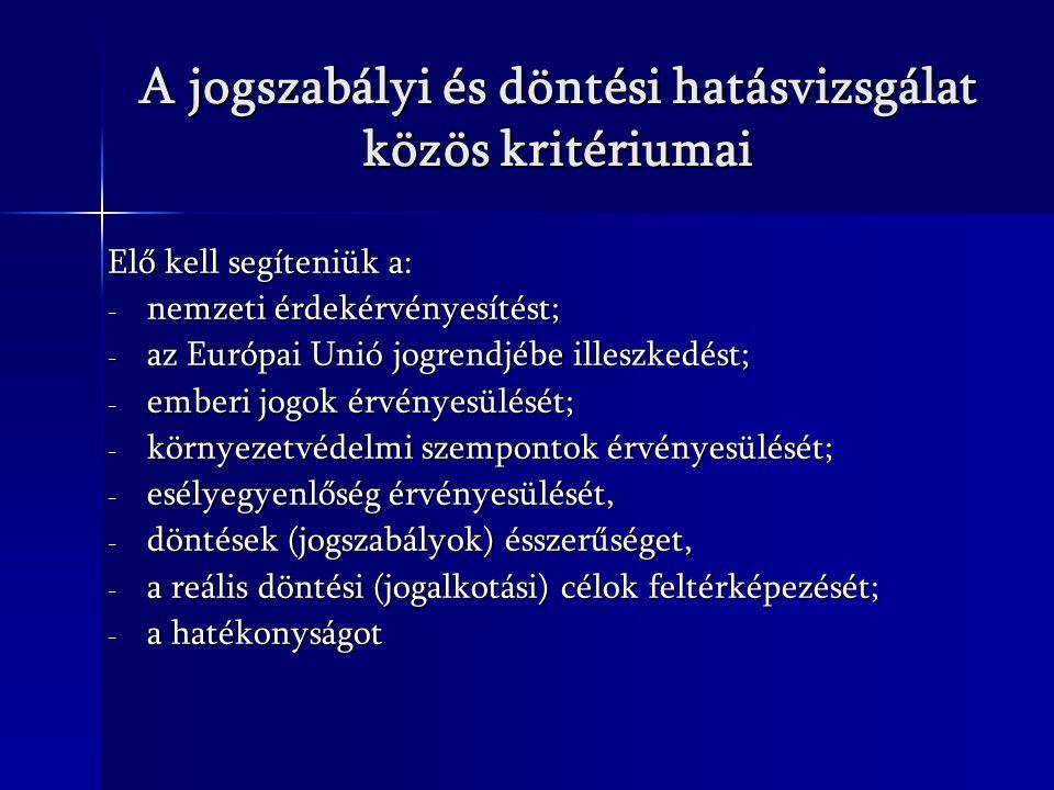 A jogszabályi és döntési hatásvizsgálat közös kritériumai Elő kell segíteniük a: - nemzeti érdekérvényesítést; - az Európai Unió jogrendjébe illeszked
