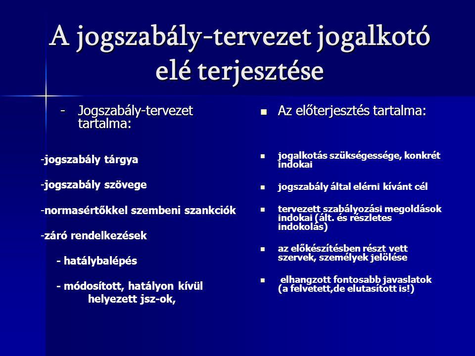 A jogszabály-tervezet jogalkotó elé terjesztése -Jogszabály-tervezet tartalma: Az előterjesztés tartalma: Az előterjesztés tartalma: jogalkotás szüksé