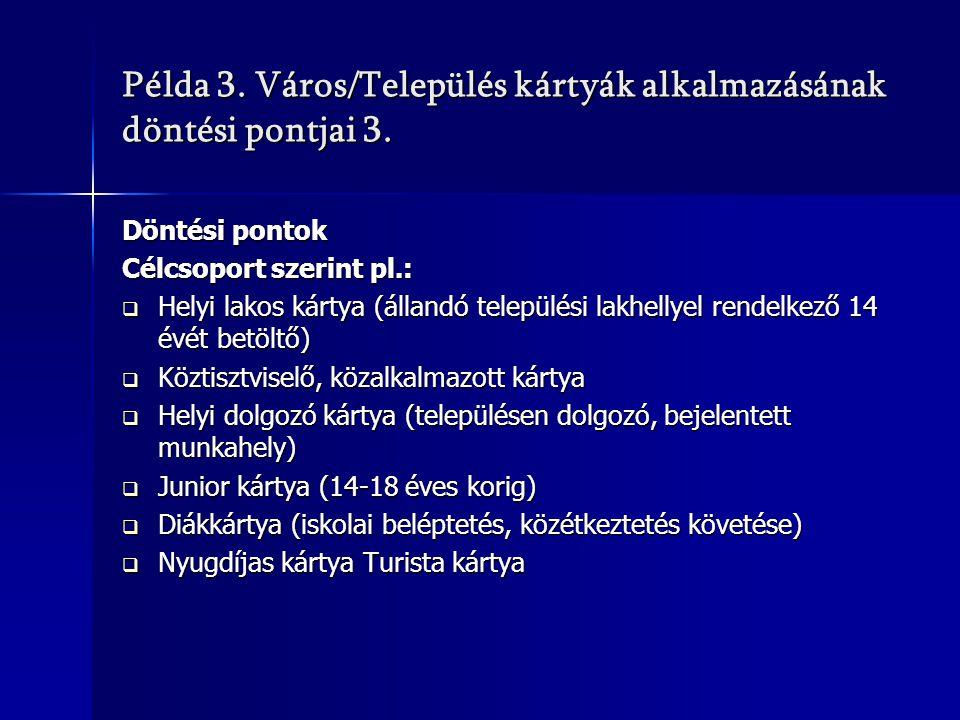 Példa 3. Város/Település kártyák alkalmazásának döntési pontjai 3. Döntési pontok Célcsoport szerint pl.:  Helyi lakos kártya (állandó települési lak