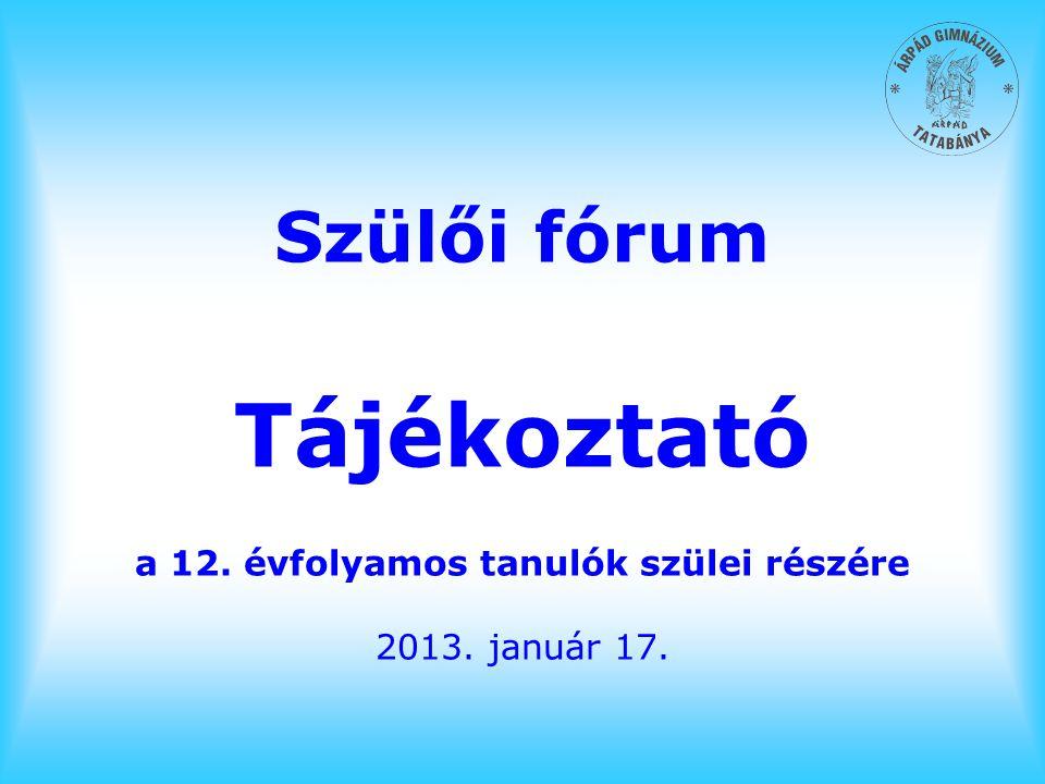 Szülői fórum Tájékoztató a 12. évfolyamos tanulók szülei részére 2013. január 17.