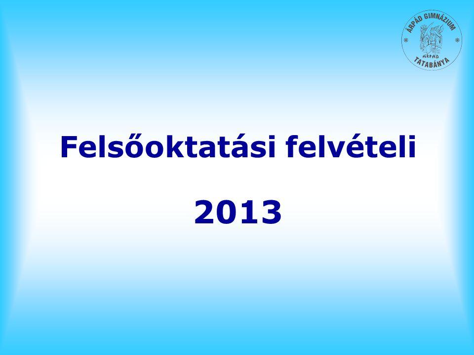 Felsőoktatási felvételi 2013