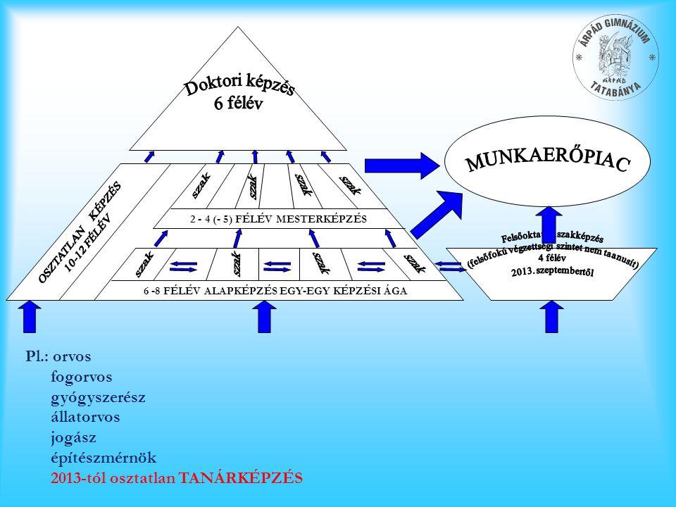LINEÁRIS (ÚJ, BOLOGNAI) KÉPZÉSI SZERKEZET 6 -8 FÉLÉV ALAPKÉPZÉS EGY-EGY KÉPZÉSI ÁGA 2 - 4 (- 5) FÉLÉV MESTERKÉPZÉS Pl.: orvos fogorvos gyógyszerész ál