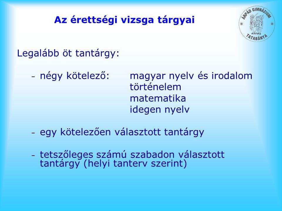 Az érettségi vizsga tárgyai Legalább öt tantárgy: – négy kötelező:magyar nyelv és irodalom történelem matematika idegen nyelv – egy kötelezően választ