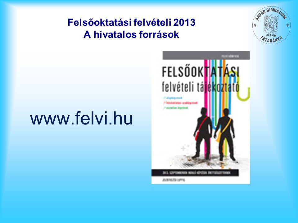 Felsőoktatási felvételi 2013 A hivatalos források www.felvi.hu