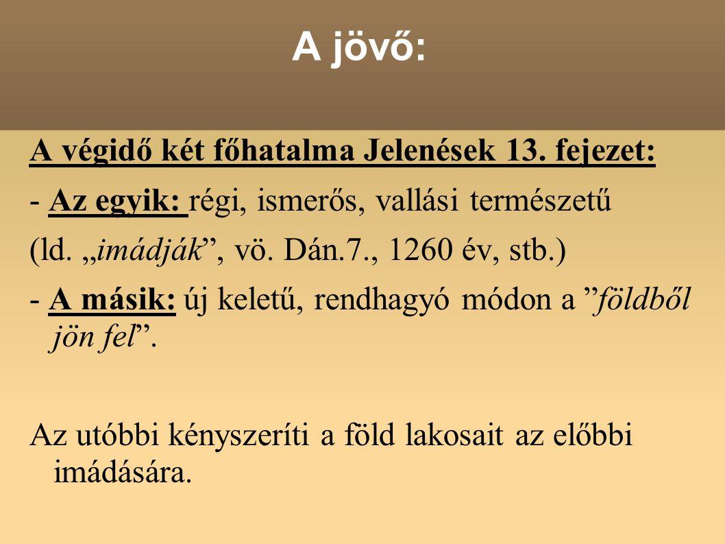 """A jövő: A végidő két főhatalma Jelenések 13. fejezet: - Az egyik: régi, ismerős, vallási természetű (ld. """"imádják"""", vö. Dán.7., 1260 év, stb.) - A más"""
