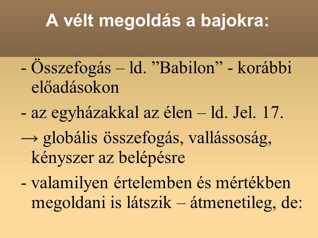 """A vélt megoldás a bajokra: - Összefogás – ld. """"Babilon"""" - korábbi előadásokon - az egyházakkal az élen – ld. Jel. 17. → globális összefogás, vallássos"""