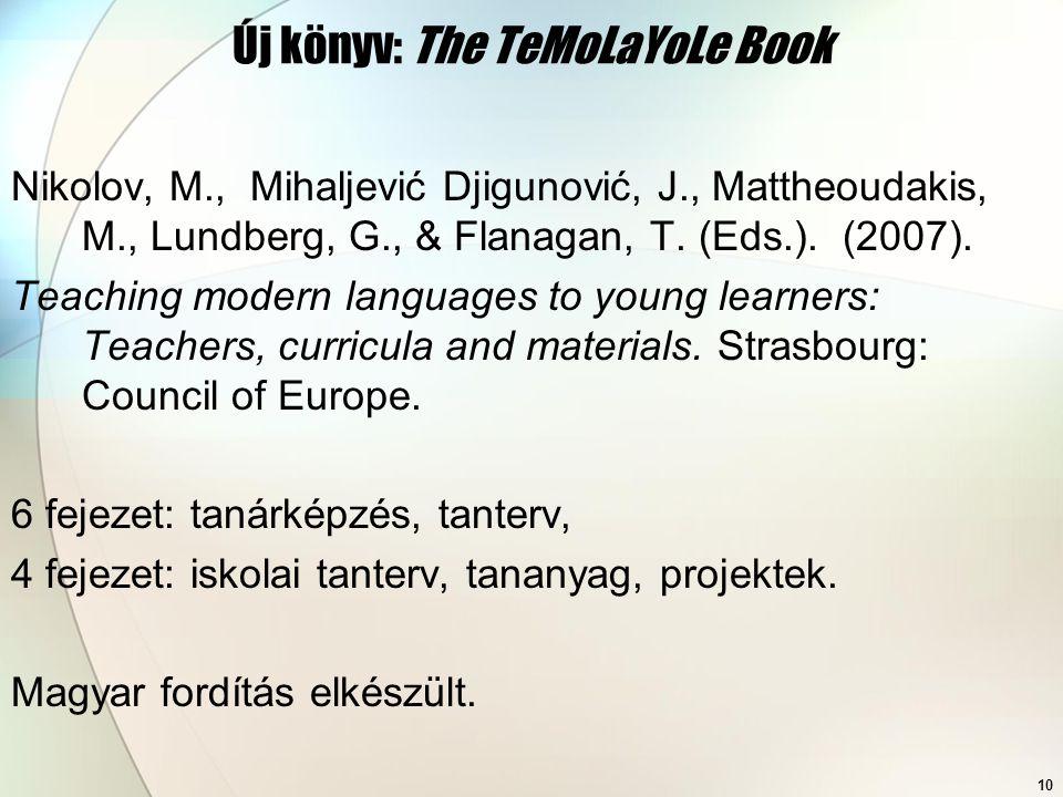 10 Új könyv: The TeMoLaYoLe Book Nikolov, M., Mihaljević Djigunović, J., Mattheoudakis, M., Lundberg, G., & Flanagan, T. (Eds.). (2007). Teaching mode