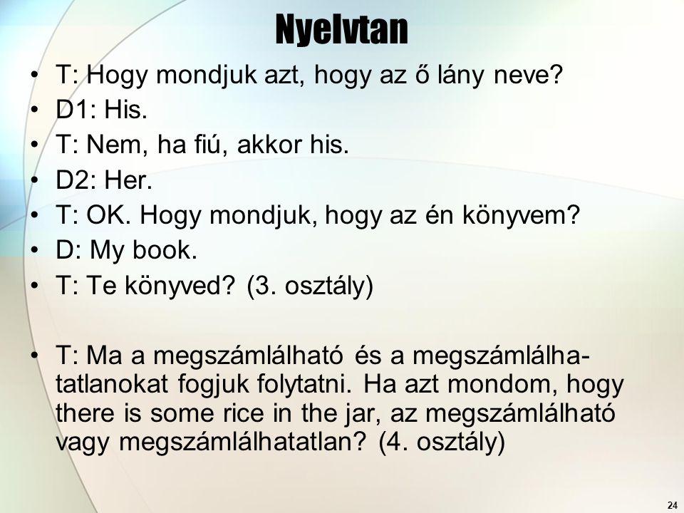 24 Nyelvtan T: Hogy mondjuk azt, hogy az ő lány neve? D1: His. T: Nem, ha fiú, akkor his. D2: Her. T: OK. Hogy mondjuk, hogy az én könyvem? D: My book