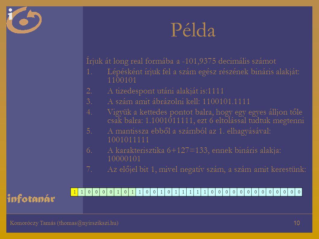 Komoróczy Tamás (thomas@nyirszikszi.hu) 10 Példa Írjuk át long real formába a -101,9375 decimális számot 1.Lépésként írjuk fel a szám egész részének bináris alakját: 1100101 2.A tizedespont utáni alakját is:1111 3.A szám amit ábrázolni kell: 1100101.1111 4.Vigyük a kettedes pontot balra, hogy egy egyes álljon tőle csak balra: 1.1001011111, ezt 6 eltolással tudtuk megtenni 5.A mantissza ebből a számból az 1.