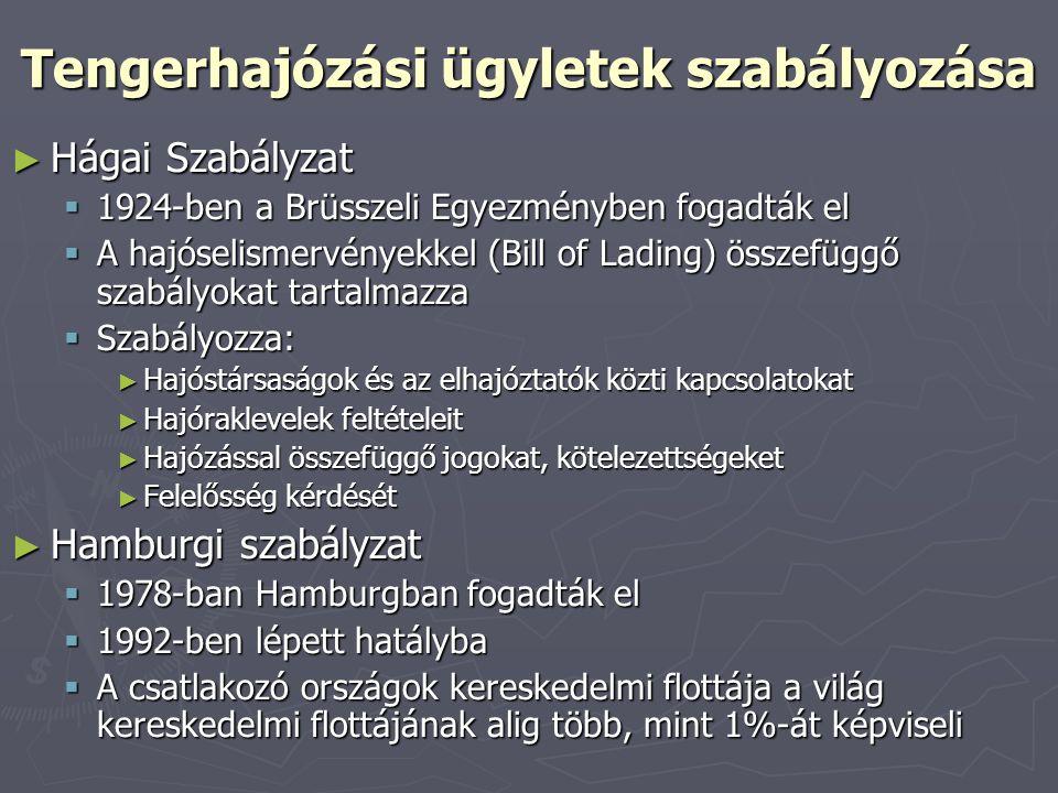 Tengerhajózási ügyletek szabályozása ► Hágai Szabályzat  1924-ben a Brüsszeli Egyezményben fogadták el  A hajóselismervényekkel (Bill of Lading) öss