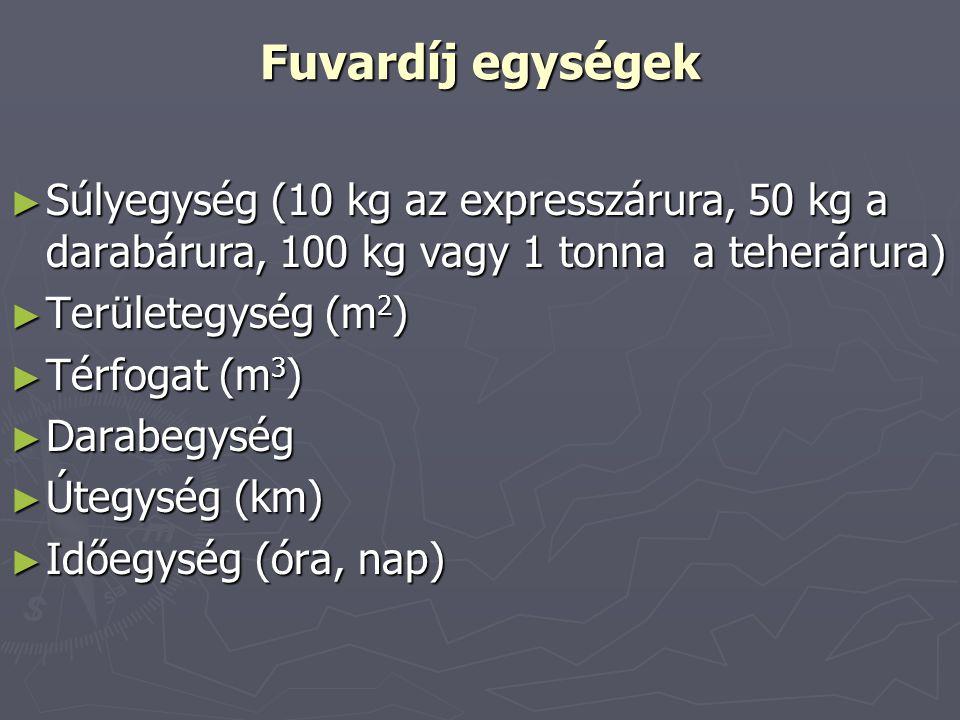 Fuvardíj egységek ► Súlyegység (10 kg az expresszárura, 50 kg a darabárura, 100 kg vagy 1 tonna a teherárura) ► Területegység (m 2 ) ► Térfogat (m 3 )