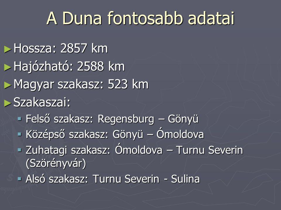 A Duna fontosabb adatai ► Hossza: 2857 km ► Hajózható: 2588 km ► Magyar szakasz: 523 km ► Szakaszai:  Felső szakasz: Regensburg – Gönyü  Középső sza