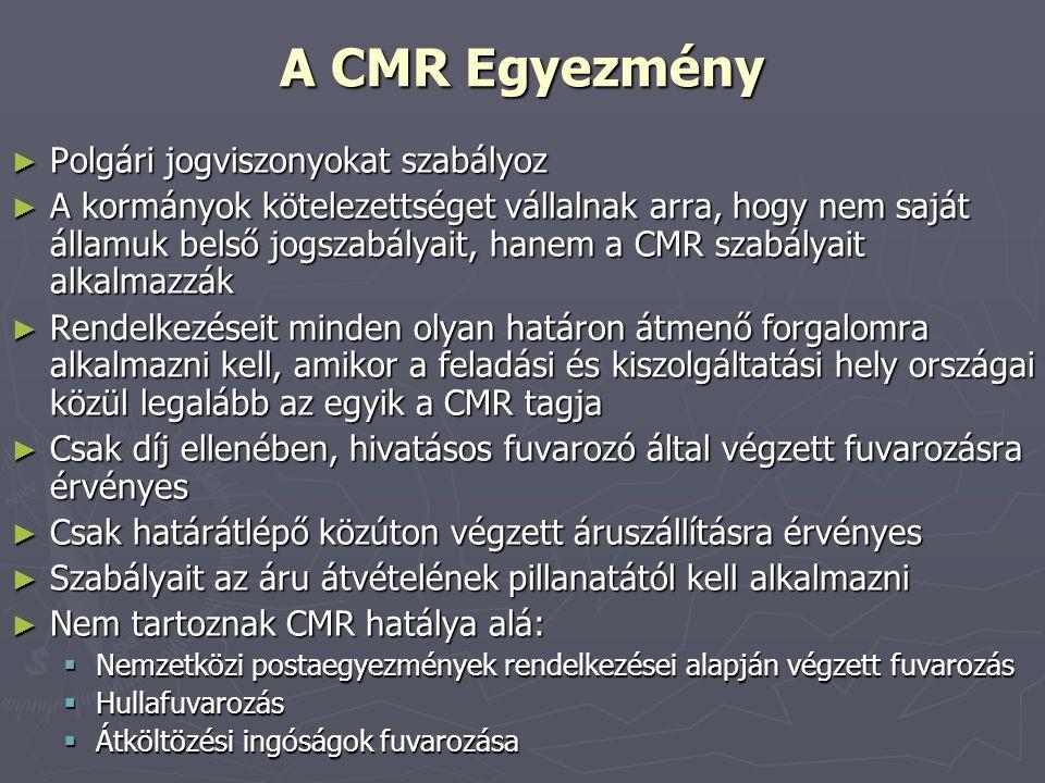 A CMR Egyezmény ► Polgári jogviszonyokat szabályoz ► A kormányok kötelezettséget vállalnak arra, hogy nem saját államuk belső jogszabályait, hanem a C