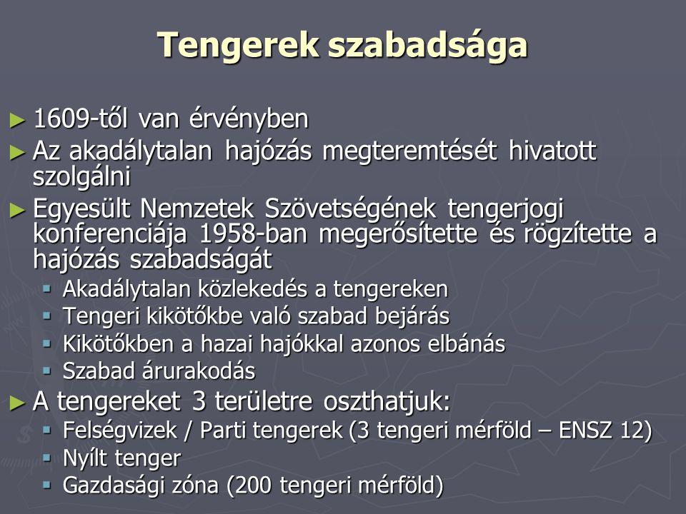 Tengerek szabadsága ► 1609-től van érvényben ► Az akadálytalan hajózás megteremtését hivatott szolgálni ► Egyesült Nemzetek Szövetségének tengerjogi k