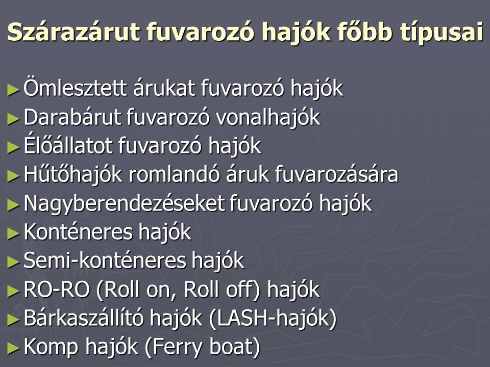 Szárazárut fuvarozó hajók főbb típusai ► Ömlesztett árukat fuvarozó hajók ► Darabárut fuvarozó vonalhajók ► Élőállatot fuvarozó hajók ► Hűtőhajók roml