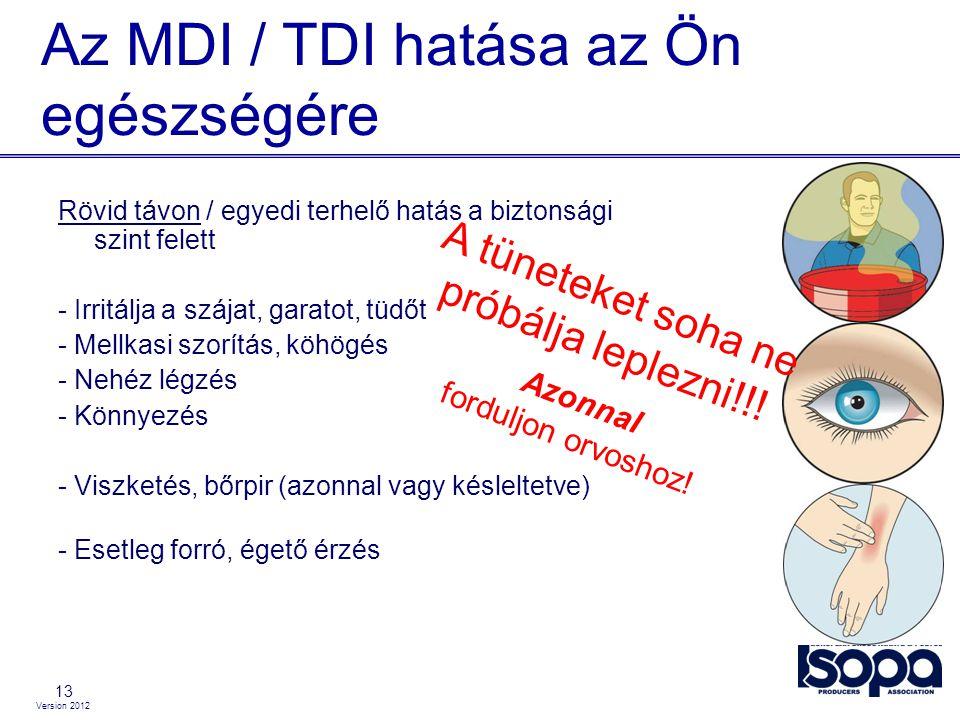 Version 2012 Az MDI / TDI hatása az Ön egészségére 13 Rövid távon / egyedi terhelő hatás a biztonsági szint felett - Irritálja a szájat, garatot, tüdő