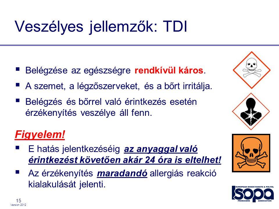 Version 2012 15 Veszélyes jellemzők: TDI  Belégzése az egészségre rendkívül káros.  A szemet, a légzőszerveket, és a bőrt irritálja.  Belégzés és b