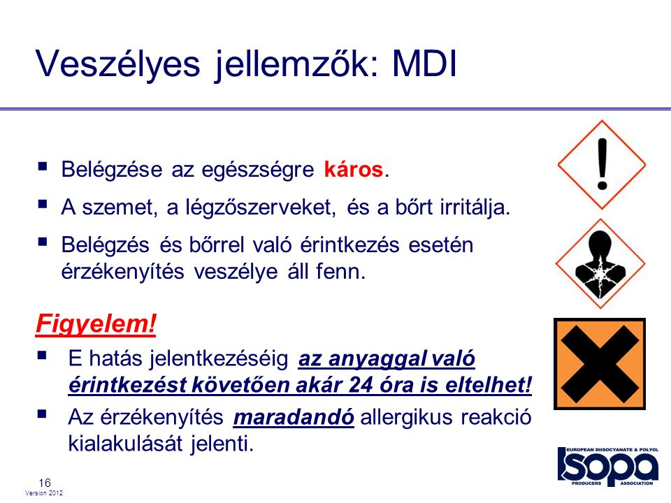 Version 2012 16 Veszélyes jellemzők: MDI  Belégzése az egészségre káros.  A szemet, a légzőszerveket, és a bőrt irritálja.  Belégzés és bőrrel való