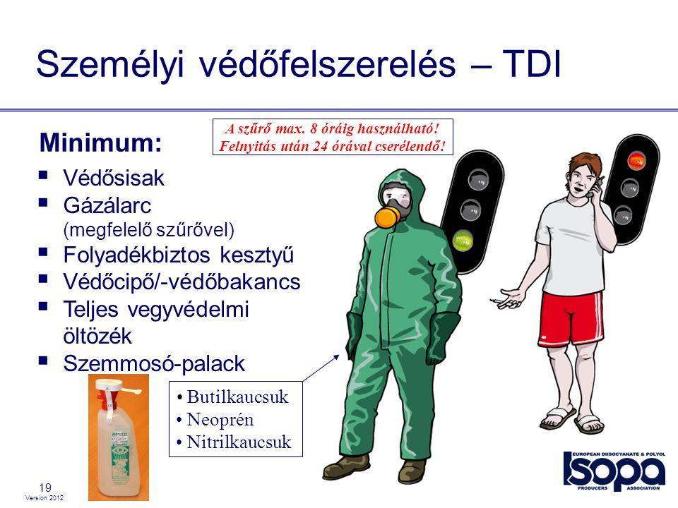 Version 2012 19  Védősisak  Gázálarc (megfelelő szűrővel)  Folyadékbiztos kesztyű  Védőcipő/-védőbakancs  Teljes vegyvédelmi öltözék  Szemmosó-p