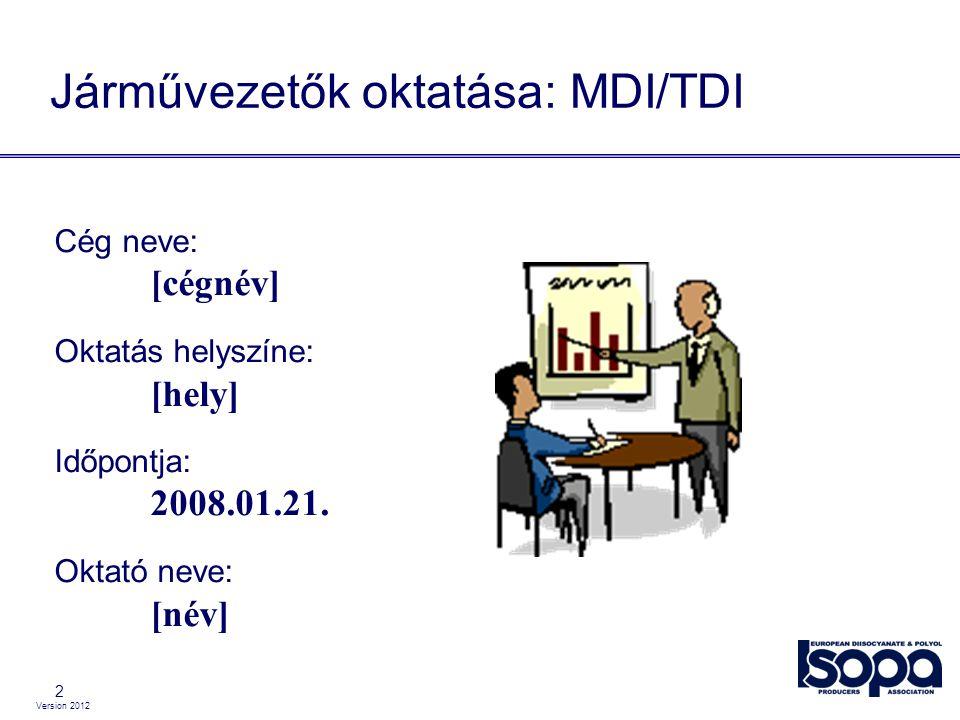 Version 2012 2 Járművezetők oktatása: MDI/TDI Cég neve: [cégnév] Oktatás helyszíne: [hely] Időpontja: 2008.01.21. Oktató neve: [név]