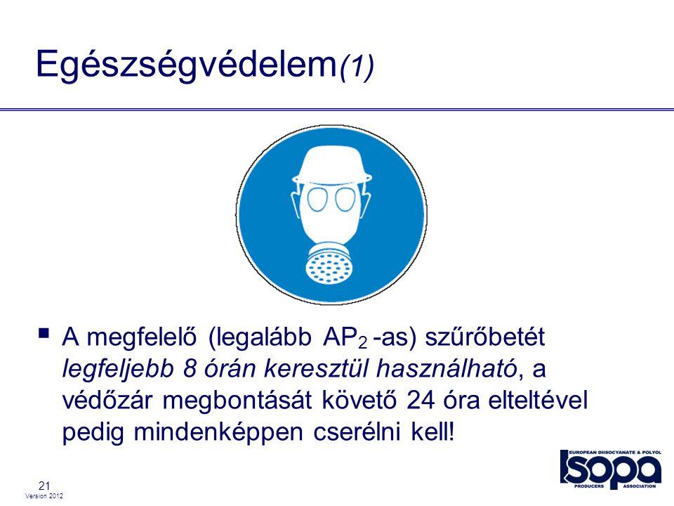 Version 2012 21 Egészségvédelem (1)  A megfelelő (legalább AP 2 -as) szűrőbetét legfeljebb 8 órán keresztül használható, a védőzár megbontását követő