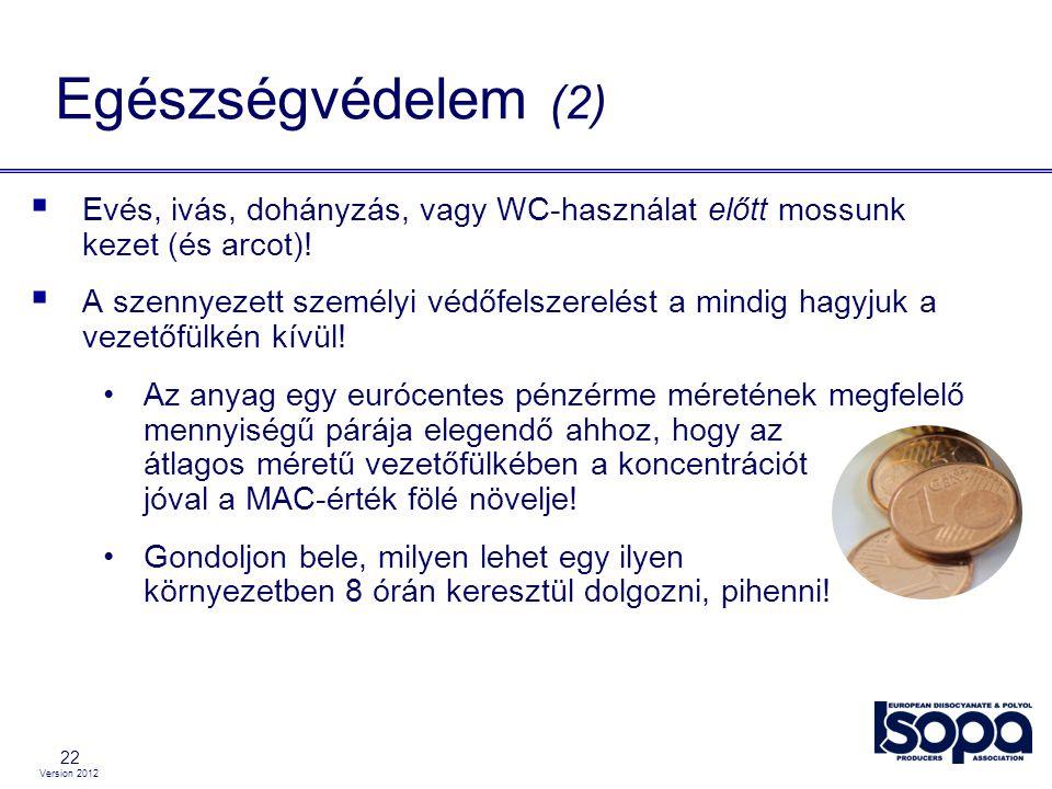 Version 2012 22  Evés, ivás, dohányzás, vagy WC-használat előtt mossunk kezet (és arcot)!  A szennyezett személyi védőfelszerelést a mindig hagyjuk