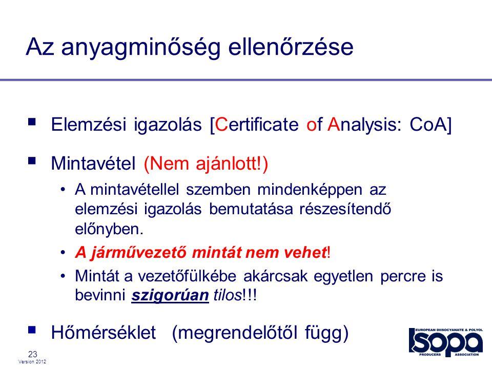 Version 2012 23 Az anyagminőség ellenőrzése  Elemzési igazolás [Certificate of Analysis: CoA]  Mintavétel (Nem ajánlott!) A mintavétellel szemben mi