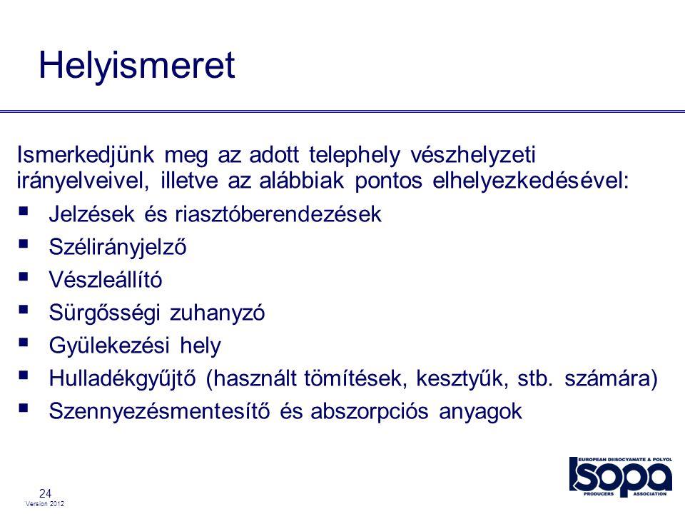 Version 2012 24 Helyismeret Ismerkedjünk meg az adott telephely vészhelyzeti irányelveivel, illetve az alábbiak pontos elhelyezkedésével:  Jelzések é
