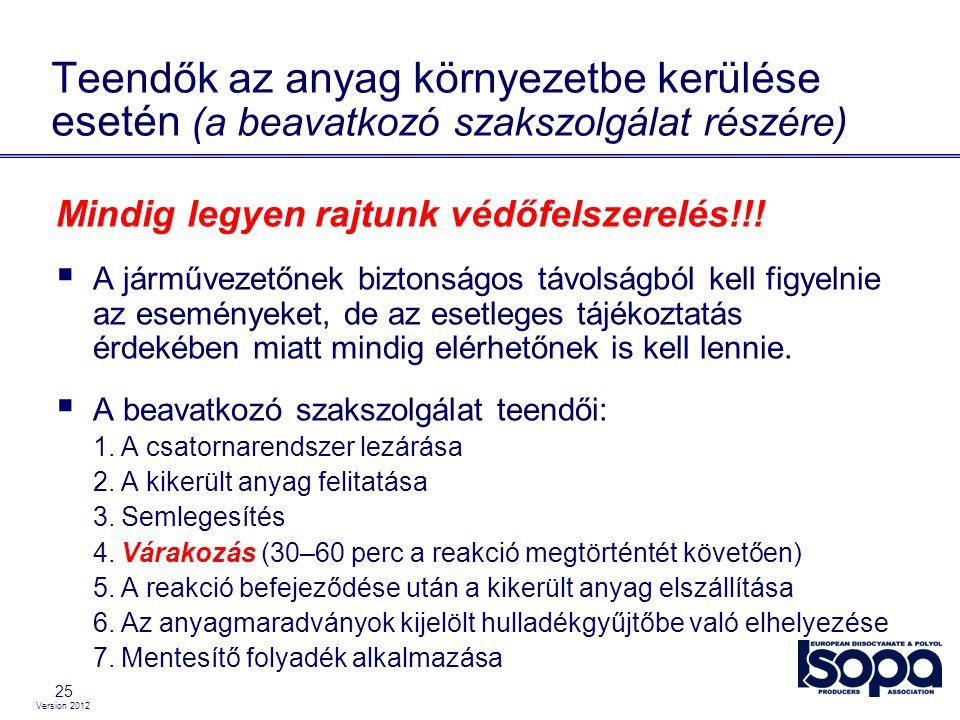 Version 2012 25 Teendők az anyag környezetbe kerülése esetén (a beavatkozó szakszolgálat részére) Mindig legyen rajtunk védőfelszerelés!!!  A járműve