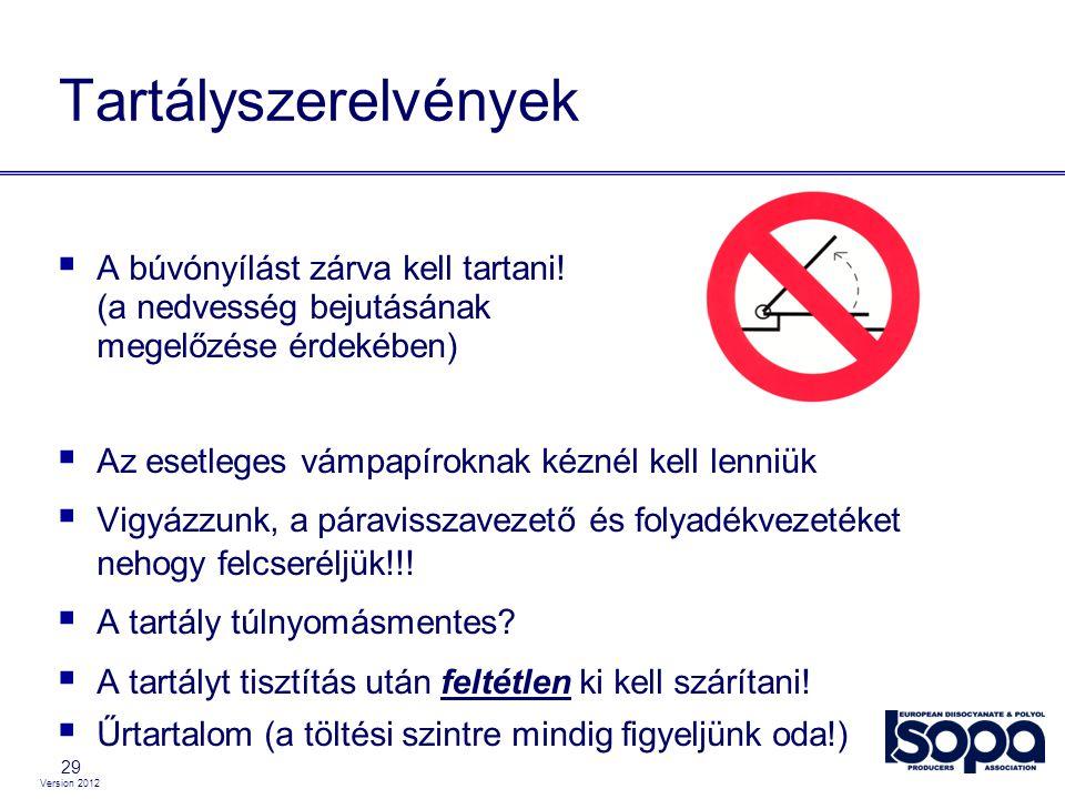 Version 2012 29 Tartályszerelvények  A búvónyílást zárva kell tartani! (a nedvesség bejutásának megelőzése érdekében)  Az esetleges vámpapíroknak ké