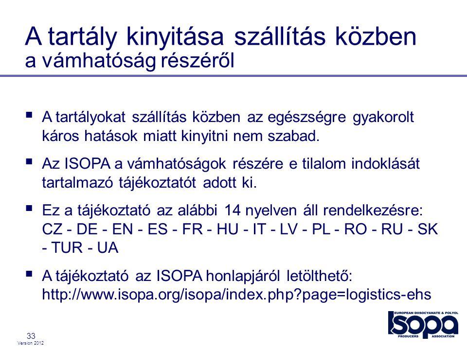 Version 2012 33 A tartály kinyitása szállítás közben a vámhatóság részéről  A tartályokat szállítás közben az egészségre gyakorolt káros hatások miat