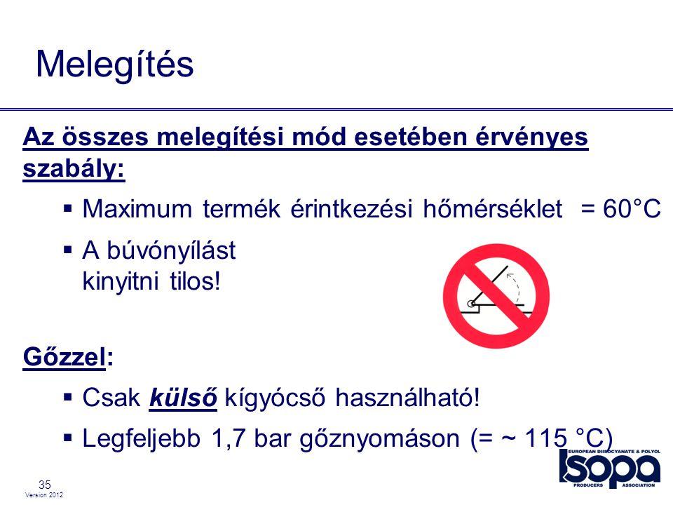 Version 2012 35 Melegítés Az összes melegítési mód esetében érvényes szabály:  Maximum termék érintkezési hőmérséklet = 60°C  A búvónyílást kinyitni