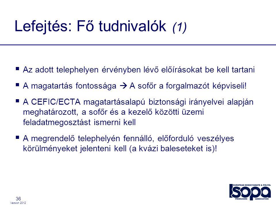 Version 2012 36 Lefejtés: Fő tudnivalók (1)  Az adott telephelyen érvényben lévő előírásokat be kell tartani  A magatartás fontossága  A sofőr a fo