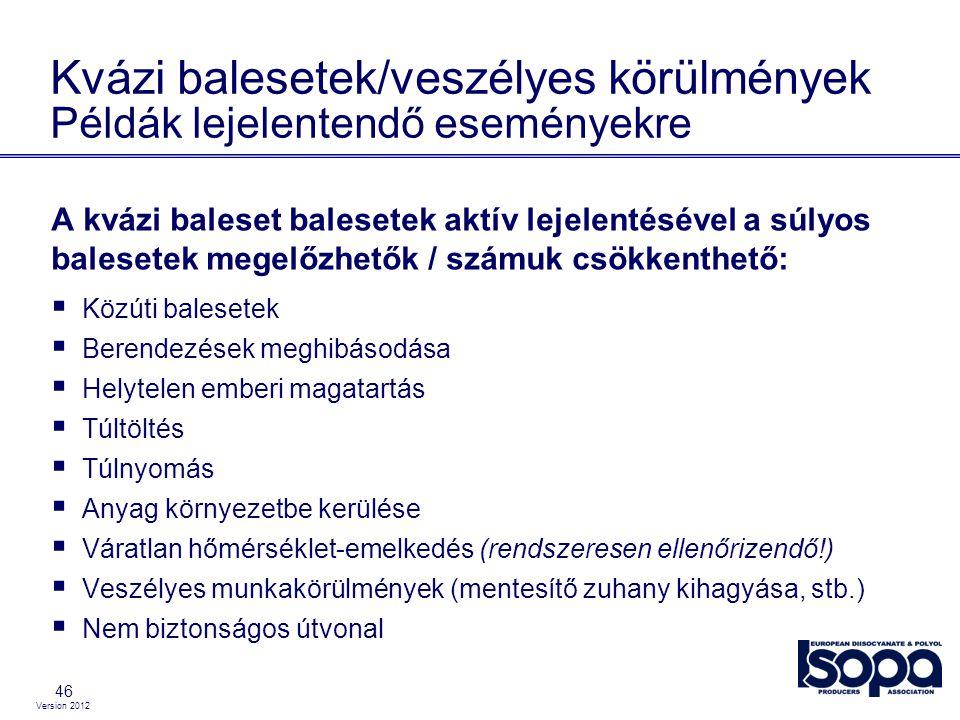 Version 2012 46 Kvázi balesetek/veszélyes körülmények Példák lejelentendő eseményekre A kvázi baleset balesetek aktív lejelentésével a súlyos balesete