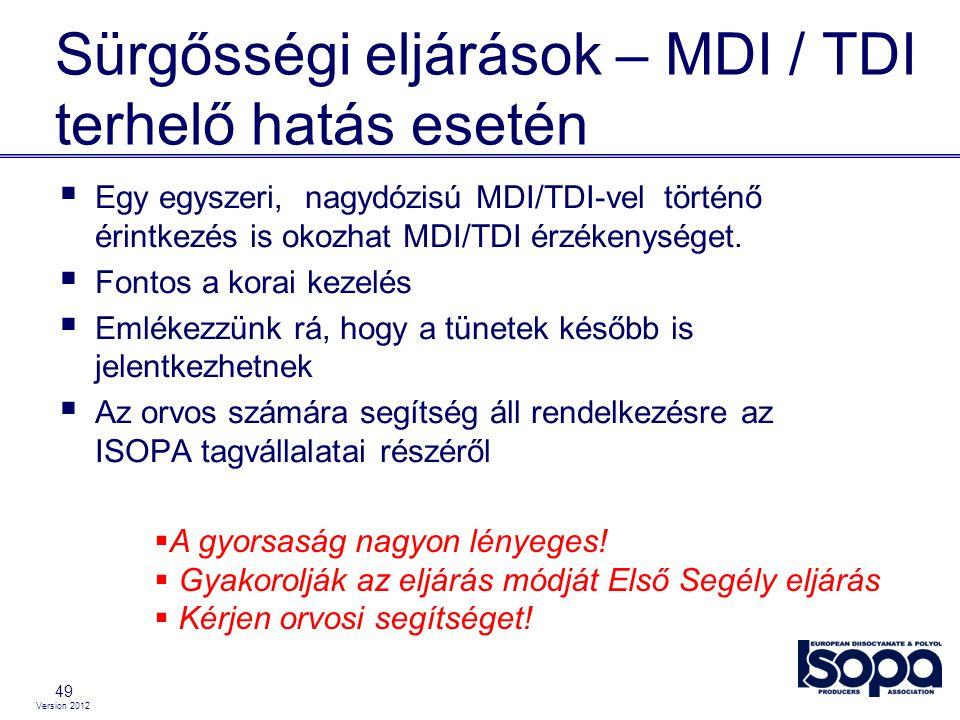 Version 2012 Sürgősségi eljárások – MDI / TDI terhelő hatás esetén 49  Egy egyszeri, nagydózisú MDI/TDI-vel történő érintkezés is okozhat MDI/TDI érz