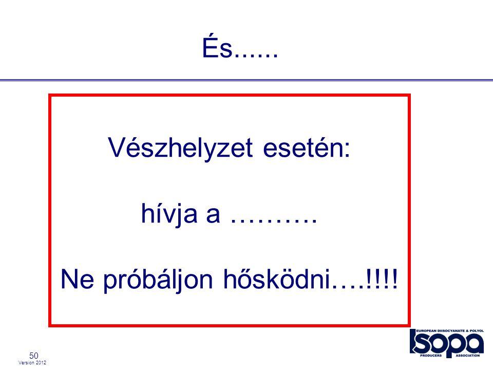 Version 2012 50 És...... Vészhelyzet esetén: hívja a ………. Ne próbáljon hősködni….!!!!