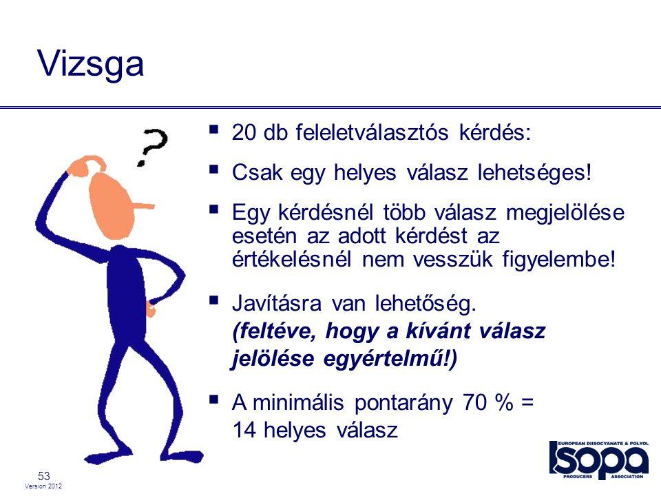 Version 2012 53 Vizsga  20 db feleletválasztós kérdés:  Csak egy helyes válasz lehetséges!  Egy kérdésnél több válasz megjelölése esetén az adott k