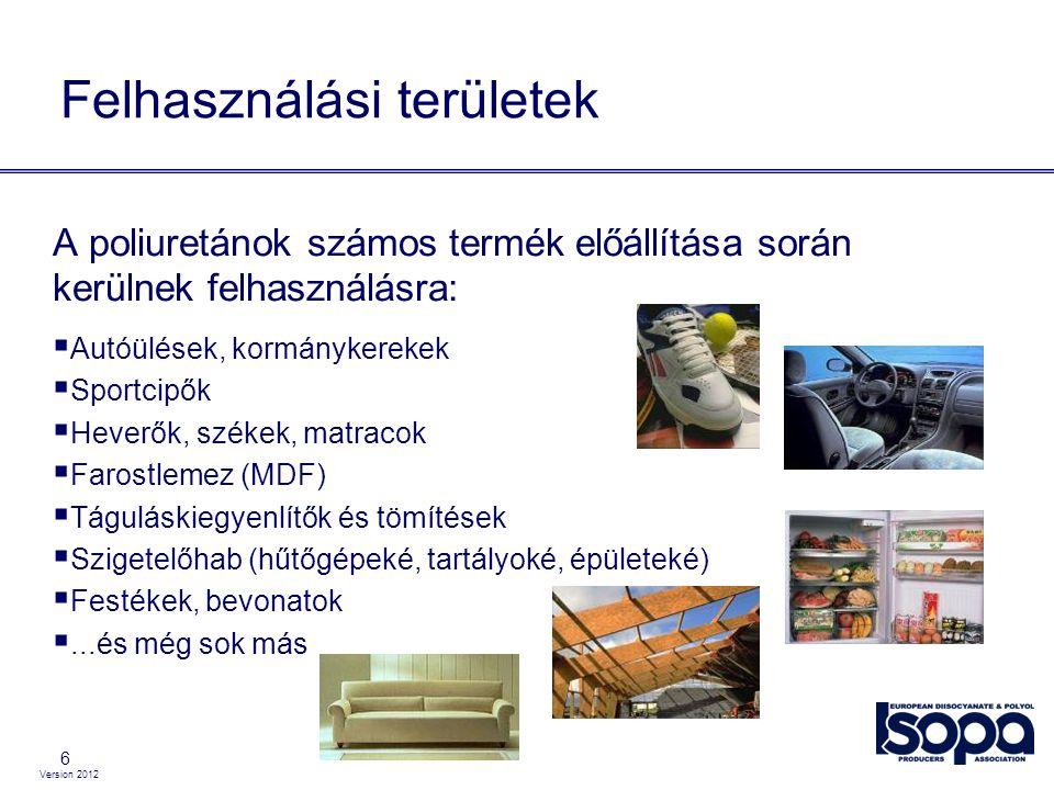6 Felhasználási területek A poliuretánok számos termék előállítása során kerülnek felhasználásra:  Autóülések, kormánykerekek  Sportcipők  Heverők,
