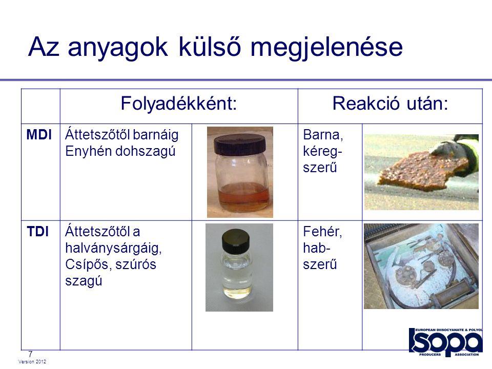 Version 2012 7 Az anyagok külső megjelenése Folyadékként:Reakció után: MDIÁttetszőtől barnáig Enyhén dohszagú Barna, kéreg- szerű TDIÁttetszőtől a hal