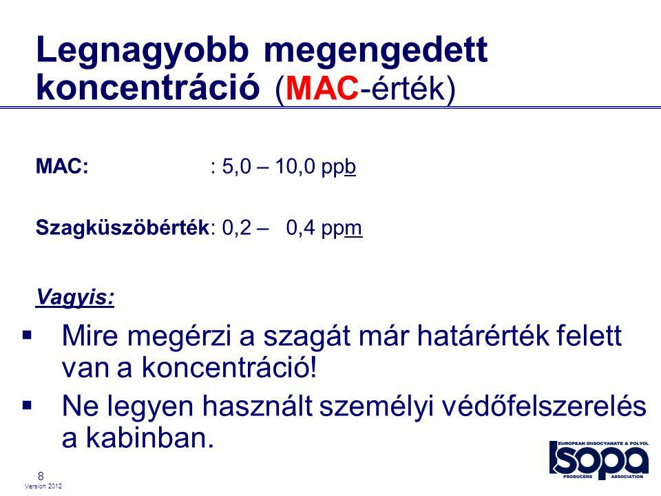 Version 2012 8 Legnagyobb megengedett koncentráció (MAC-érték) MAC:: 5,0 – 10,0 ppb Szagküszöbérték: 0,2 – 0,4 ppm Vagyis:  Mire megérzi a szagát már