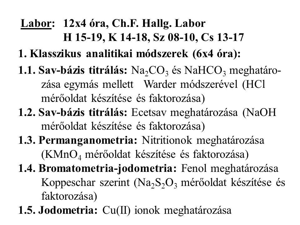 Labor:12x4 óra, Ch.F. Hallg. Labor H 15-19, K 14-18, Sz 08-10, Cs 13-17 1. Klasszikus analitikai módszerek (6x4 óra): 1.1. Sav-bázis titrálás: Na 2 CO