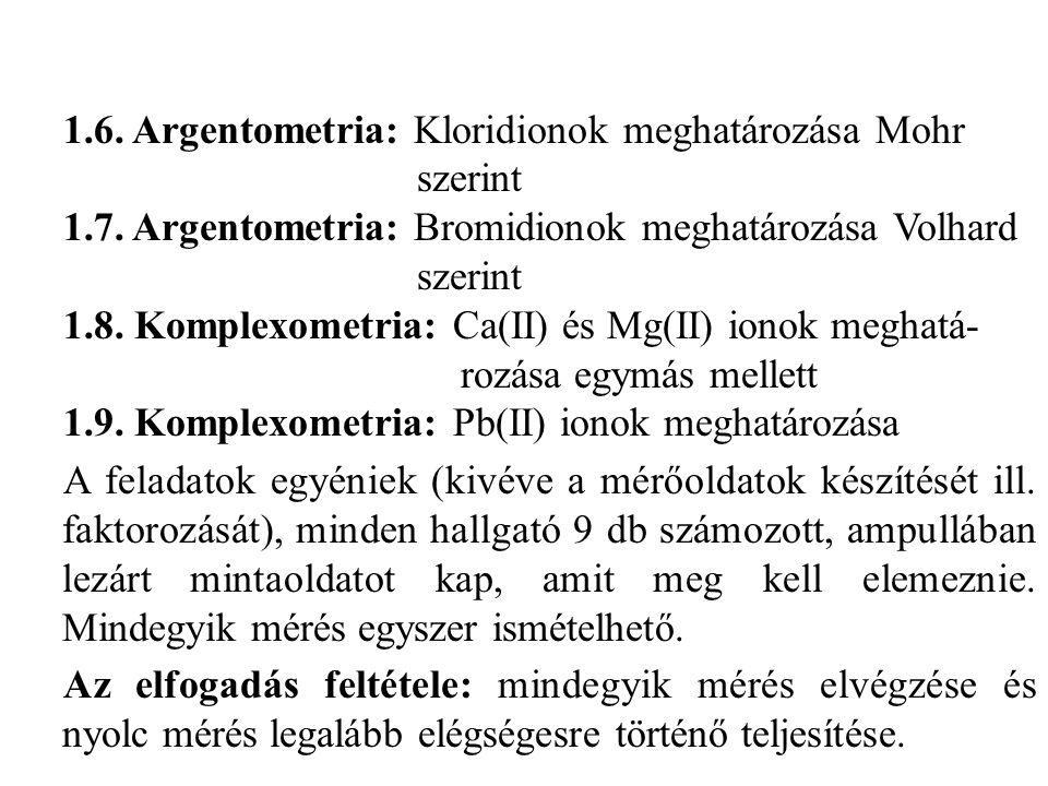 1.6. Argentometria: Kloridionok meghatározása Mohr szerint 1.7. Argentometria: Bromidionok meghatározása Volhard szerint 1.8. Komplexometria: Ca(II) é