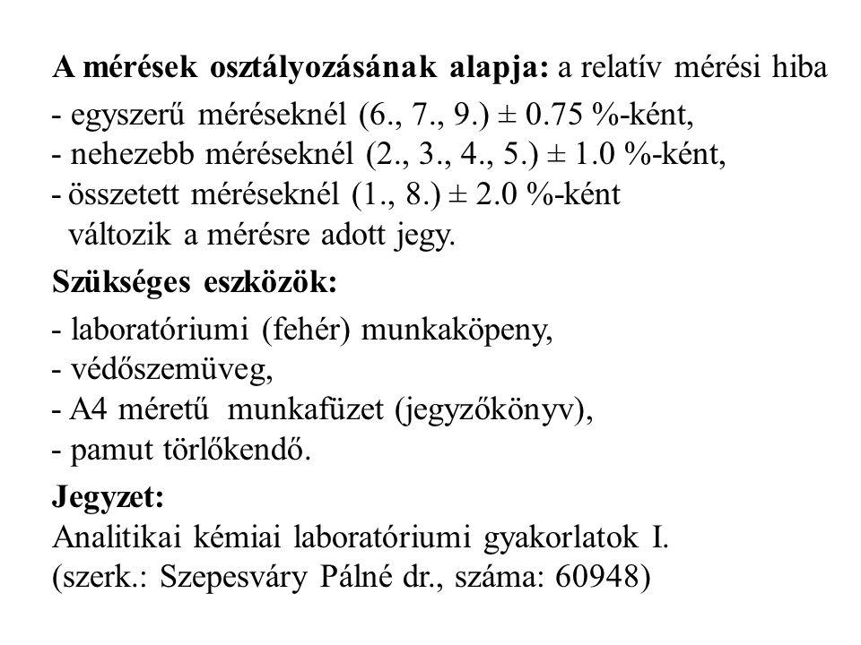 A mérések osztályozásának alapja: a relatív mérési hiba - egyszerű méréseknél (6., 7., 9.) ± 0.75 %-ként, - nehezebb méréseknél (2., 3., 4., 5.) ± 1.0