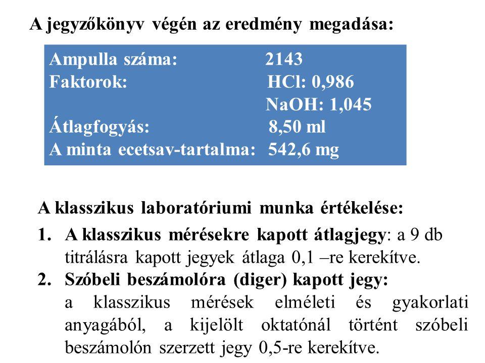 A jegyzőkönyv végén az eredmény megadása: Ampulla száma: 2143 Faktorok: HCl: 0,986 NaOH: 1,045 Átlagfogyás: 8,50 ml A minta ecetsav-tartalma: 542,6 mg