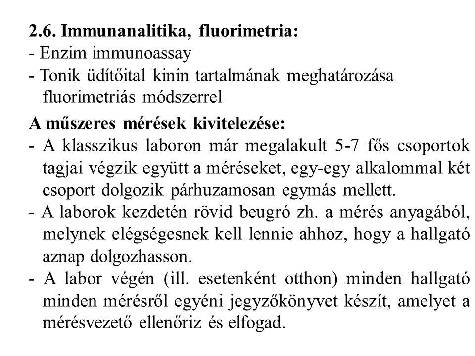 2.6. Immunanalitika, fluorimetria: - Enzim immunoassay - Tonik üdítőital kinin tartalmának meghatározása fluorimetriás módszerrel A műszeres mérések k