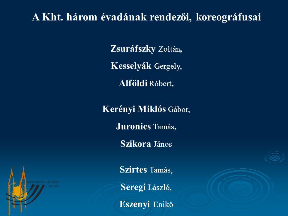 A Kht. három évadának rendezői, koreográfusai Zsuráfszky Zoltán, Kesselyák Gergely, Alföldi Róbert, Kerényi Miklós Gábor, Juronics Tamás, Szikora Jáno