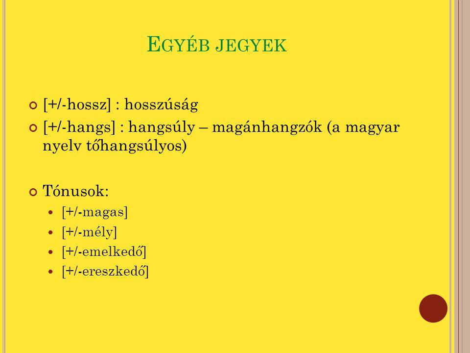 E GYÉB JEGYEK [+/-hossz] : hosszúság [+/-hangs] : hangsúly – magánhangzók (a magyar nyelv tőhangsúlyos) Tónusok: [+/-magas] [+/-mély] [+/-emelkedő] [+