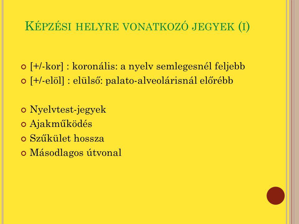 K ÉPZÉSI HELYRE VONATKOZÓ JEGYEK ( II ) Nyelvtest-jegyek [+/-felső] [+/-alsó] : nyelv háta az uvula alá [+/-hátsó] : nyelv a garat hátsó fala felé [+/-enygy] : előretolt nyelvgyök (nyelv előre + garat megnagyobbítása) Ajakműködés [+/-kerek] [+/-lab] : labiális/illabiális