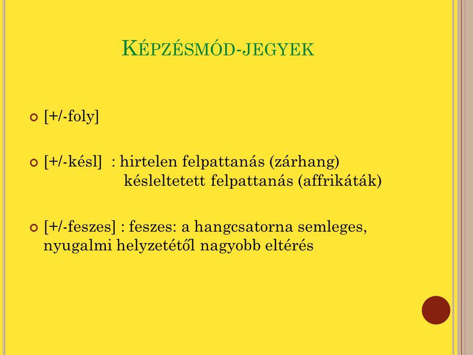 F ORRÁS - JEGYEK [+/-zöng] [+/-tág] : tág: kannaporcok szétválasztása [+/-szoros] : szoros: kannaporcok egymáshoz tapadnak, a hangszalagok összeszorítva vannak [+/-merev] [+/-erny] : ernyedt