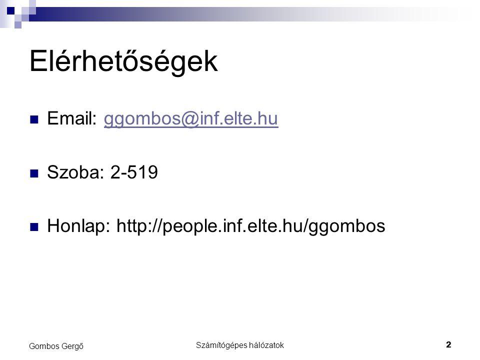 Számítógépes hálózatok2 Gombos Gergő Elérhetőségek Email: ggombos@inf.elte.huggombos@inf.elte.hu Szoba: 2-519 Honlap: http://people.inf.elte.hu/ggombos